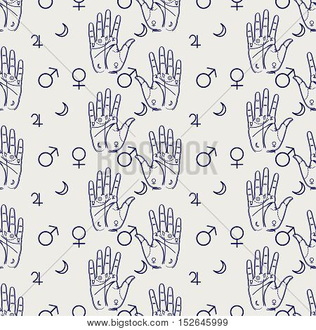 Palmistry seamless pattern with hand and isoteric signs. Vector illustration