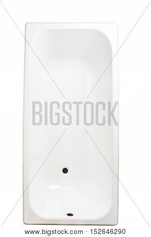 Closeup of white urinal on white background