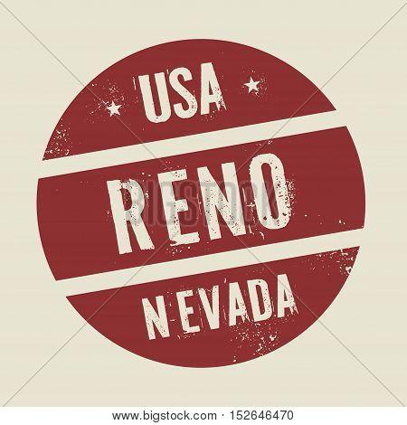 Grunge vintage round stamp with text Reno Nevada vector illustration