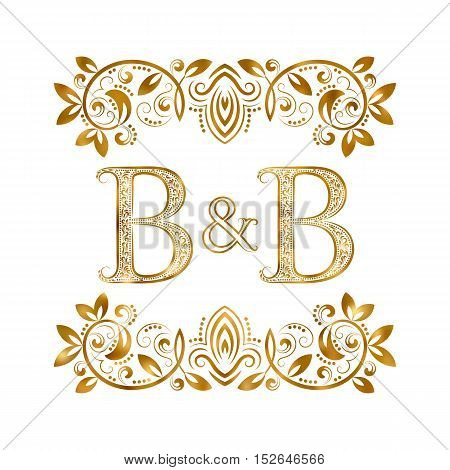 B&B vintage initials logo symbol. Letters B and B ampersand surrounded floral ornament. Wedding or business partners initials monogram in royal style.