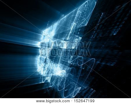 Abstract background element. Three-dimensional composition of wave shapes, grids and beams. Science and technology concept. Blue and black colors.
