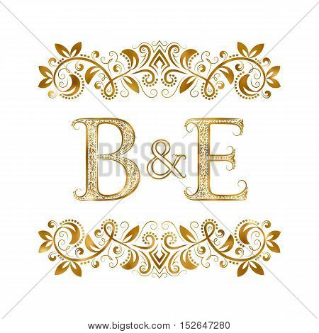 B&E vintage initials logo symbol. Letters B E ampersand surrounded floral ornament. Wedding or business partners initials monogram in royal style.