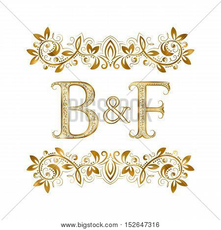 B&F vintage initials logo symbol. Letters B F ampersand surrounded floral ornament. Wedding or business partners initials monogram in royal style.