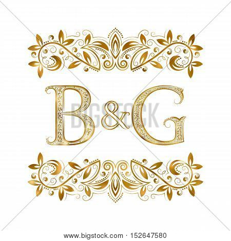 B&G vintage initials logo symbol. Letters B G ampersand surrounded floral ornament. Wedding or business partners initials monogram in royal style.