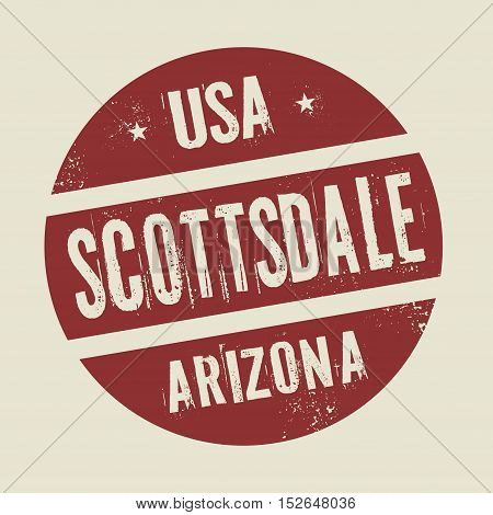 Grunge vintage round stamp with text Scottsdale Arizona vector illustration