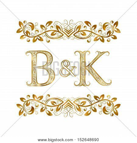 B&K vintage initials logo symbol. Letters B K ampersand surrounded floral ornament. Wedding or business partners initials monogram in royal style.