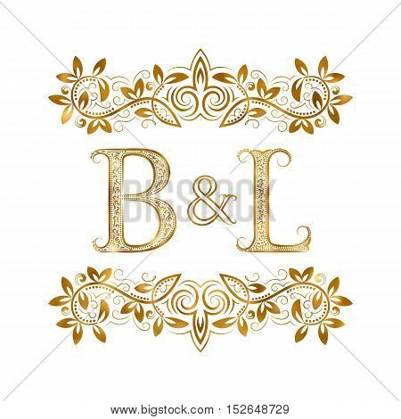 B&L vintage initials logo symbol. Letters B L ampersand surrounded floral ornament. Wedding or business partners initials monogram in royal style.