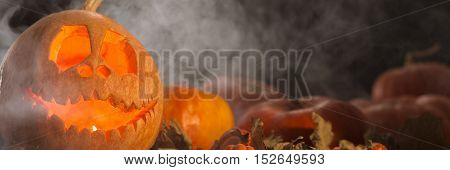 Frightening View Of Carved Pumpkin