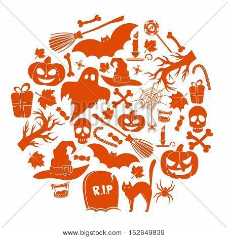 Set of Halloween icons in circle shape background. Template for packaging, cards, posters and menu. Vector stock illustration.