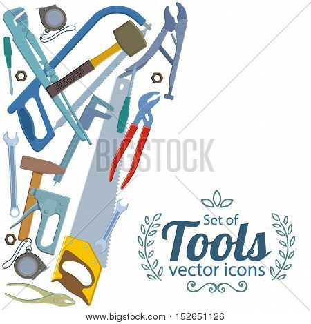 Side vertical border with repair tools icons. Template for packaging cards posters menu. Vector stock illustration.