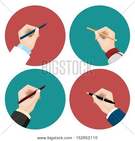 Flat icons with writting left-hander and right-hander vector set