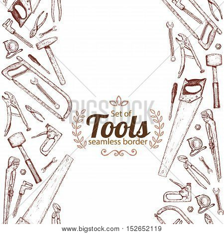 Vertical seamless borders of repair tools icons. Vector stock illustration.