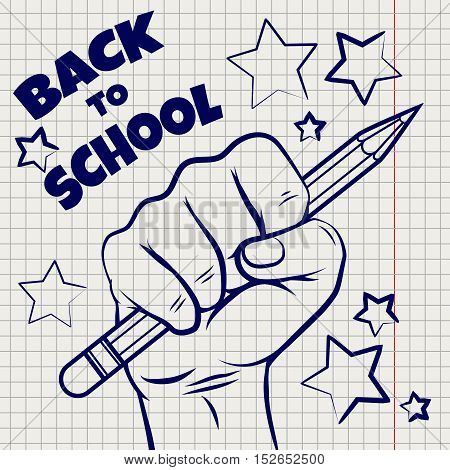 Back to school sketch with hand and pencil on notebook page. Vector illustration