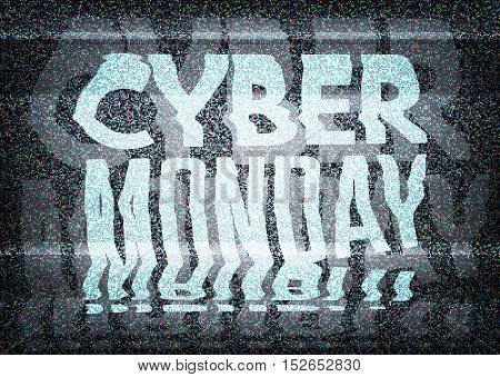 Cyber Monday Sale Glitch Art Typographic Poster. Glitchy Cyber Monday Typography On An Old Tv Screen
