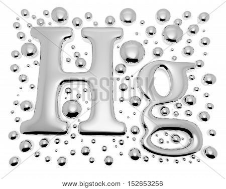 Small shiny mercury (Hg) metal chemical element sign of toxic mercury metal with drops and droplets of toxic mercury liquid isolated on white 3d illustration