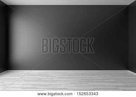 Empty room with black walls white hardwood parquet floor and soft skylight from window simple minimalist interior architecture background with copy-space 3d illustration