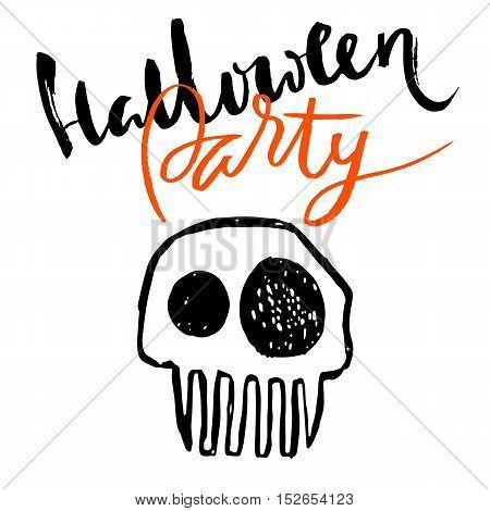Hand drawn sketch skull. Cartoon skull illustration.Burning skull on black background. Happy halloween party lettering.
