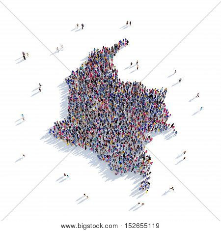 Large and creative group of people gathered together in the form of a map Colombia, a map of the world. 3D illustration, isolated against a white background. 3D-rendering.
