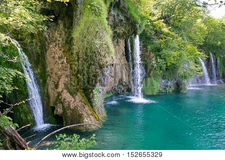 magnificent waterfalls in Plitvice National Park in summer