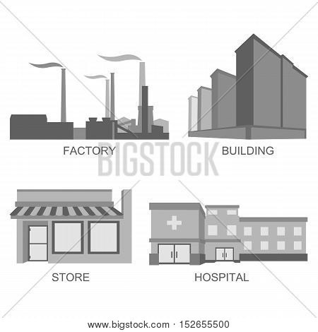 Stock vector icons city modern architecture in line style element for infographic