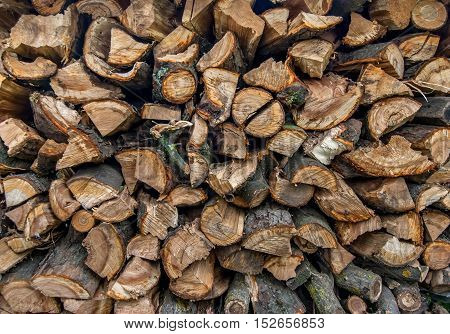 background of the firewood stack. Natural background