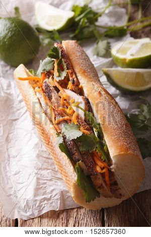 Vietnamese Pork Banh Mi Sandwich With Cilantro And Carrot Close-up. Vertical