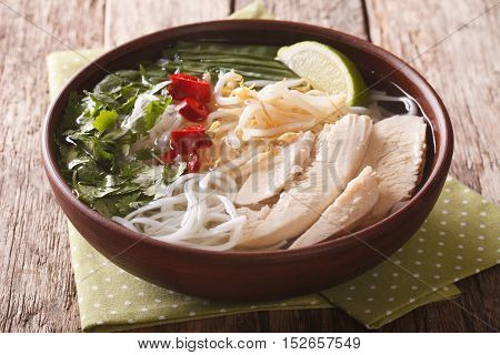 Vietnamese Cuisine: Soup Pho Ga With Chicken, Rice Noodles And Fresh Herbs Close-up. Horizontal