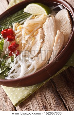 Vietnamese Soup Pho Ga With Chicken And Rice Noodles Close-up. Vertical