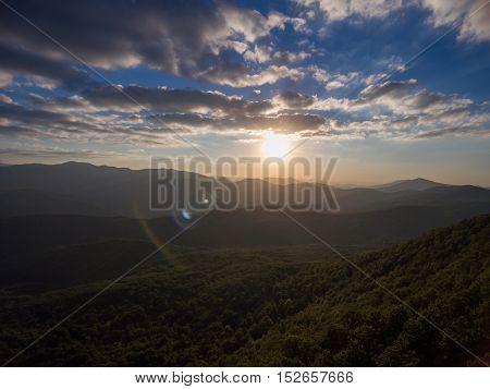 Dron photos. Mountain nature landscape at sunset.