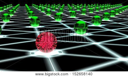 Glowing hexagon network with green glass nodes and one sphere filled with a red virus cybersecurity concept 3D illustration