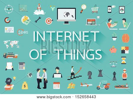Internet of things paper text with long shadow and business flat icons. Banner template - Stock vector