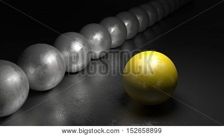 One yellow ball with stone texture standing apart from a row of grey spheres on a black rock surface 3D illustration