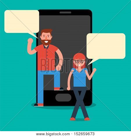 Man and woman millennials texting or chatting via messenger mobile app on smartphone. Young friends conversation over cell phone. Vector illustration in flat style