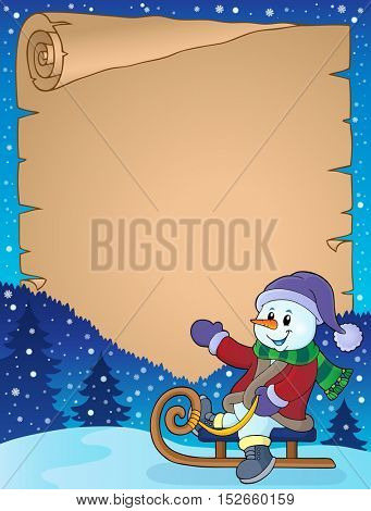 Parchment with snowman on sledge - eps10 vector illustration.
