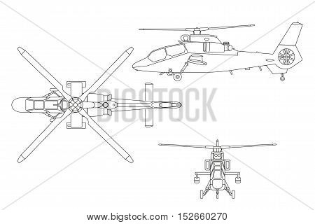 Outline drawing of helicopter. The helicopter in three views: top view side front. Realistic image of helicopter on white background. Vector illustration