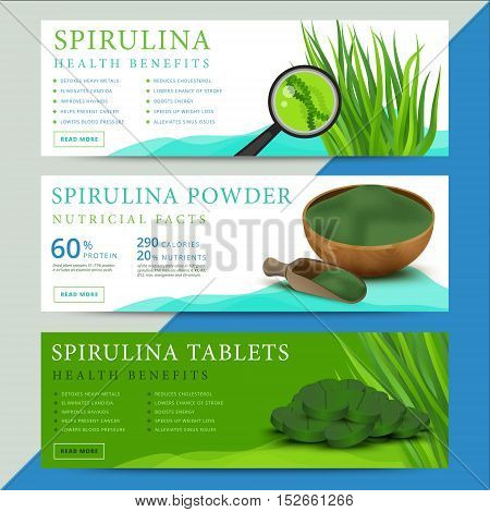 Set of spirulina algae information website or social media banners. Arthrospira seaweed dietary supplement background templates. Superfood vector illustration