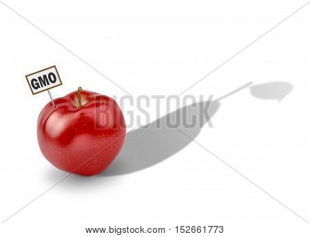 The concept of genetically modified products. Apple pear casts a shadow.3D illlustration