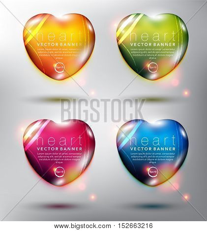 Abstract vector banner set of 4. Pebble stones in shape of heart. Colorful with realistic light and shadow on the white panel. Vector illustration. Each item contains space for own text. Eps10.