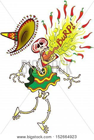 Mexican skeleton wearing a big hat and poncho while making a big effort to burp hot chili peppers in a loud and painful way