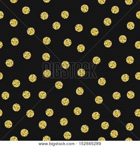 Seamless pattern with gold glitter dots. Gold circle polka dots design template. Bright grainy texture. Vector illustration.