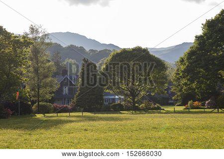 Grasmere village at sunset, lake District, Cumbria, England