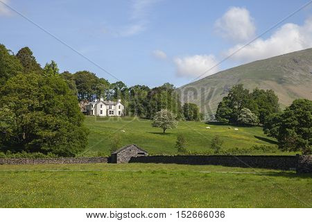 Fine house overlooking Grasmere village, The Lake District, Cumbria, England