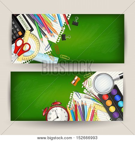 Set of two Back to school horizontal banners. Templates with supplies tools on green classroom chalkboard. Place for your text. Layered realistic vector illustration.