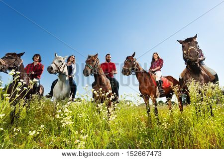 Portrait of five happy equestrians with their horses, standing in a row in flowery meadow