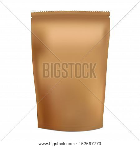 Golden Blank Foil Food Snack Sachet Bag Packaging For Coffee, Salt, Sugar, Pepper, Spices, Sachet, Sweets, Chips, Cookies. Illustration Isolated. Mock Up Template Ready For Your Design. Vector EPS10