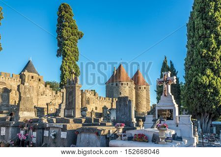 CARCASSONNE,FRANCE - AUGUST 30,2016 - Cemetery of the Carcassonne City. Carcassonne is a fortified French town in the Aude department.