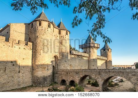 CARCASSONNE,FRANCE - AUGUST 30,2016 - The Comtal Chateau from XII.Century and inner ramparts in Carcassonne Old City. Carcassonne is a fortified French town in the Aude department.