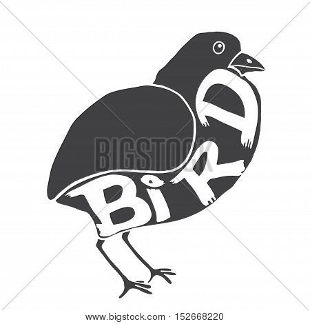 Bird with the inscription on the body. Vector illustration isolated
