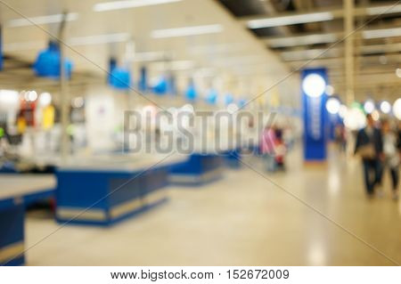 Abstract Background Of Checkout Aisles Inside Store