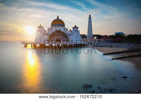Malacca straits mosque at sunset Malacca Malaysia